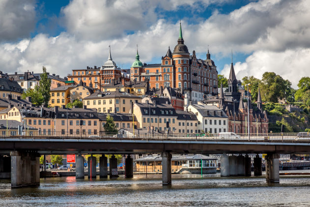 These buildings are in an area known as Södermalm, an island in the southern area of Stockholm.