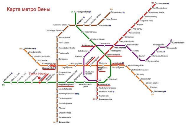 Достопримечательности Вены на карте